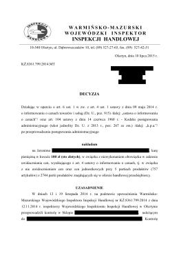 Decyzja 3(2015) - Wojewodzki Inspektorat Inspekcji Handlowej w