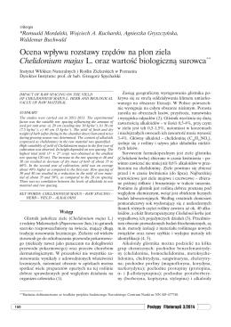 Ocena wpływu rozstawy rzędów na plon ziela Chelidonium majus L