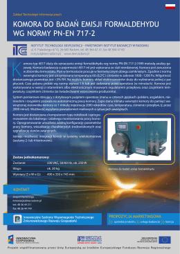 komora do badań emisji formaldehydu wg normy pn-en 717-2