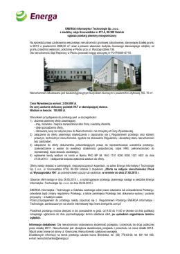 aleja Grunwaldzka nr 472 A, 80-309 Gdańsk ogłasza