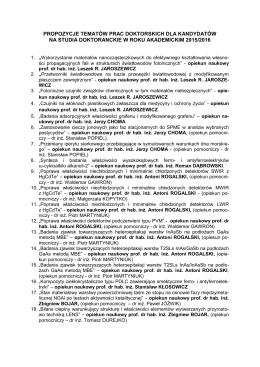 propozycje tematów prac doktorskich dla kandydatów na studia