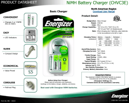 NiMH Battery Charger (CHVC3E) - Energizer Technical Information