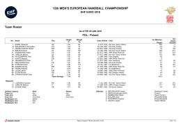 12th MEN`S EUROPEAN HANDBALL CHAMPIONSHIP