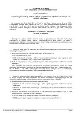 Uchwała Nr XI/144/15 Rady Miejskiej w
