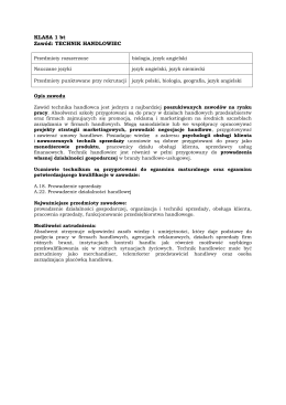 KLASA 1 bt Zawód: TECHNIK HANDLOWIEC