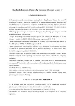 """Regulamin Promocji """"Maski i algi plastyczne Clarena 2 w cenie 1"""""""