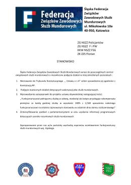 Śląska Federacja Związków Zawodowych Służb Mundurowych ul
