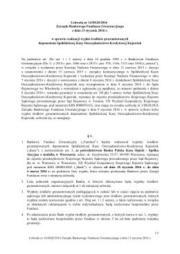 Uchwała nr 14/DGD/2016 Zarządu Bankowego