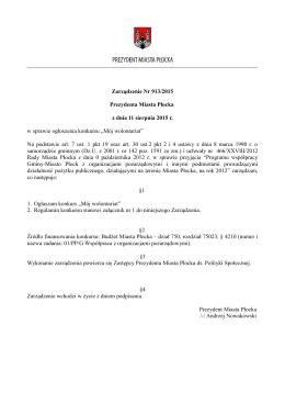 Zarządzenie Nr 913/2015 Prezydenta Miasta Płocka z dnia 11