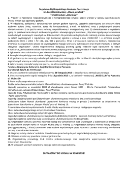 Regulamin Ogólnopolskiego Konkursu Poetyckiego im. Łucji