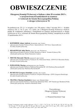 Okręgowej Komisji Wyborczej w Kaliszu z dnia 28 września 2015 r