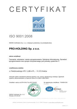 ISO 9001 - Pro-Holding Sp. z oo
