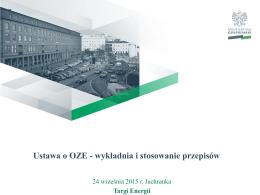 Ustawa o OZE -wykładnia i stosowanie przepisów
