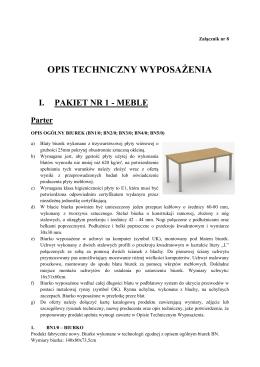 Załącznik nr 8 Opis Techniczny Wyposażenia
