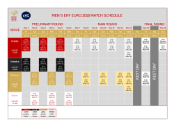 men`s ehf euro 2016 match schedule res t day res t day
