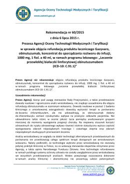 Rekomendacja nr 60/2015 z dnia 6 lipca 2015 r. Prezesa Agencji
