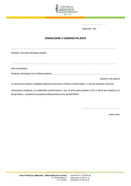 oświadczenie o odbiorze pacjenta