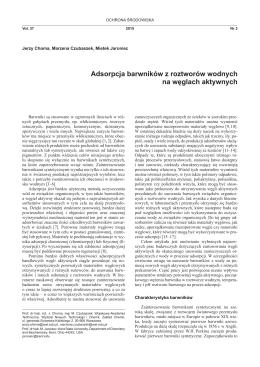 Adsorpcja barwników z roztworów wodnych na węglach aktywnych