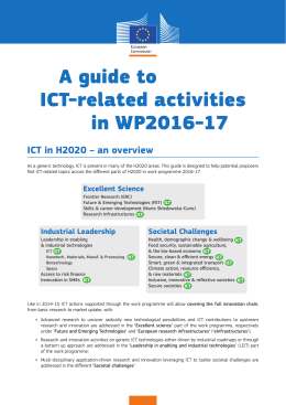A guide to ICT-related activities in WP2016-17