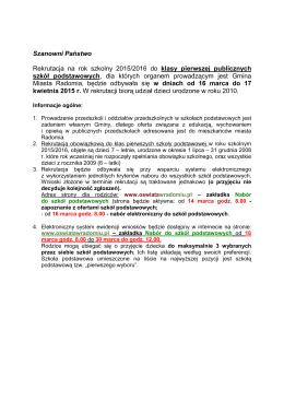 Zasady rekrutacji - NABÓR 2015 zmieniony kl.I