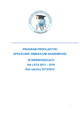 Program profilaktyki - Społeczne Gimnazjum Akademickie
