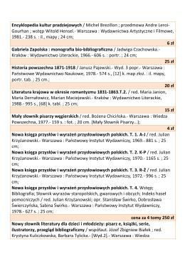 Lista książek do sprzedaży - Biblioteka Publiczna im. Marii