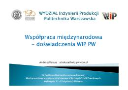 doświadczenia WIP PW