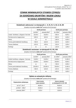 cennik minimalnych stawek czynszu za dzierżawę