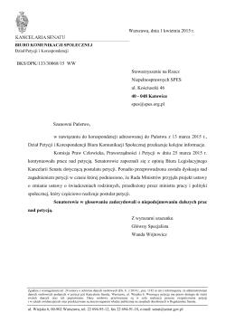 (30068 świadczenia rodzinne - zakończenie prac nad petycją)