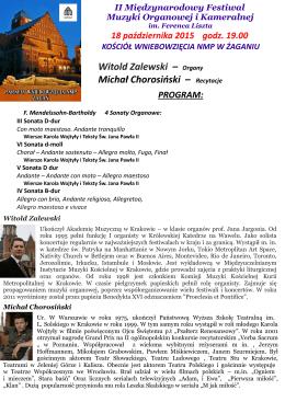 Witold Zalewski – Organy Michał Chorosiński – Recytacje