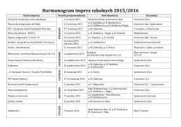 Harmonogram imprez szkolnych 2015/2016