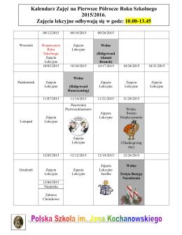 Kalendarz Zajęć na Pierwsze Półrocze Roku Szkolnego 2015/2016