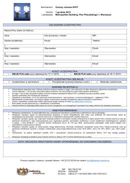 Seminarium: Termin: Lokalizacja: Umowy ramowe EFET 1 grudnia