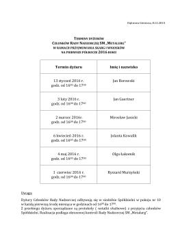 Terminy dyżurów członków Rady Nadzorczej