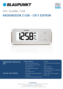 • Radio PLL FM z pamięcią 10 stacji • Zegar z