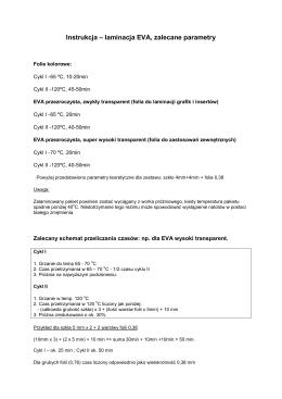 Instrukcja – laminacja EVA, zalecane parametry - In