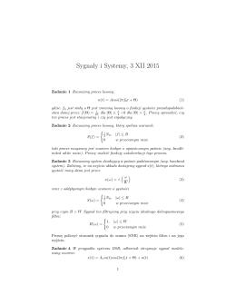 Sygnały i Systemy, 3 XII 2015