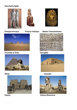 Starożytny Egipt Pozycja krocząca Pozycja siedząca Maska