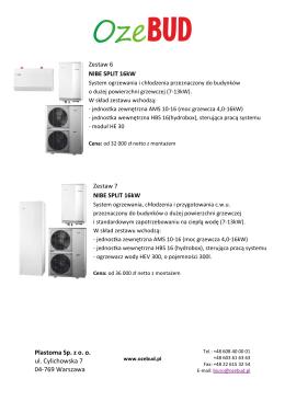 Ceny zestawów NIBE SPLIT 16 kW dla budynków o pow