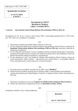 Zarządzenie nr 244/15 Burmistrza Tuchowa z dnia 1