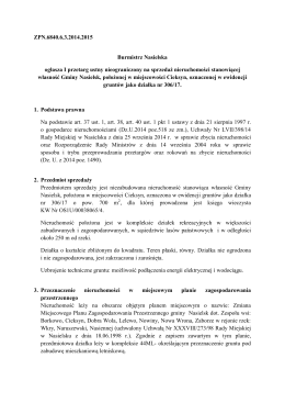 ZPN.6840.6.3.2014.2015 Burmistrz Nasielska ogłasza I