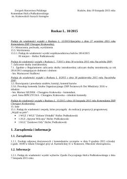 Rozkaz L. 10/2015 1. Zarządzenia i informacje