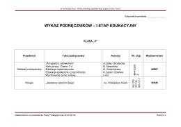 Szkolny zestaw podreczników na rok szkolny 2015/2016 - kl `0`
