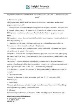 Regulamin uczestnictwa w warsztatach dla uczniów klas IV