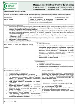 Ogłoszenie o naborze 12/2015 - Mazowieckie Centrum Polityki