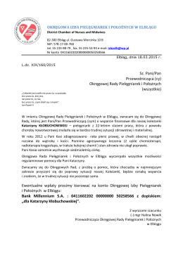OIPiP w Elblągu -prośba o wsparcie finansowe pielęgniarki