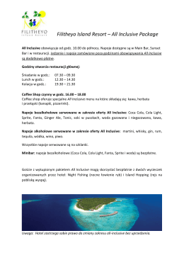 Opis All Inclusive - Wezyr Holiday Service