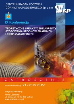 Program konferencji 21-23.04.2015r