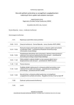 Program konferencji - Regionalny Ośrodek Polityki Społecznej