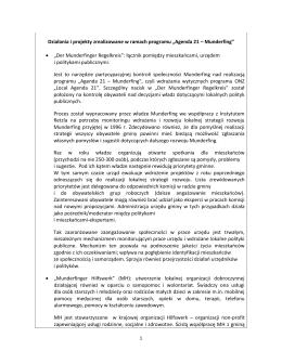 """Działania i projekty zrealizowane w ramach programu """"Agenda 21"""